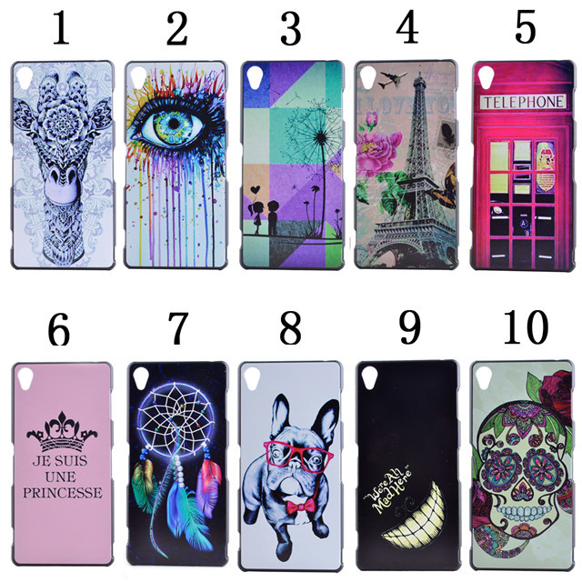 Sony Z3 Case Cover Cartoon Pattern Matte Plastic PC Hard SONY Xperia D6653 L55T Back Covers - APbest Electronic Store store