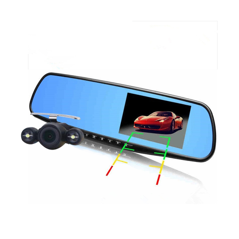 Hot 4.3 inch Full HD 1080P Car Mirror DVR Dual Lens Front And Back Camera For Car Rear View Mirror Car Camera DVR Video Recorder(China (Mainland))
