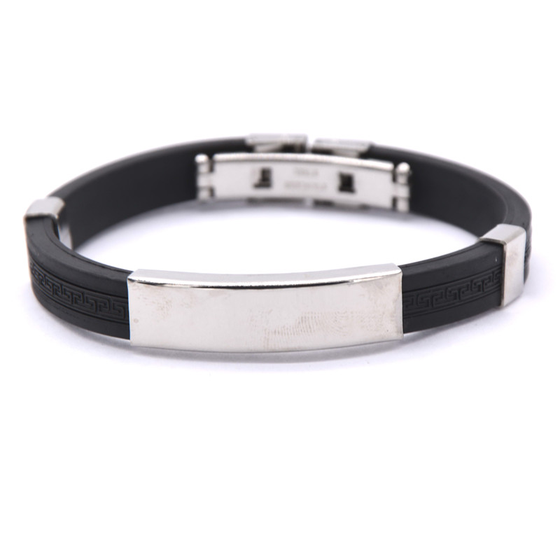 New popular silicone wristbands with stainless steel bracelet Men's Jewelry(China (Mainland))