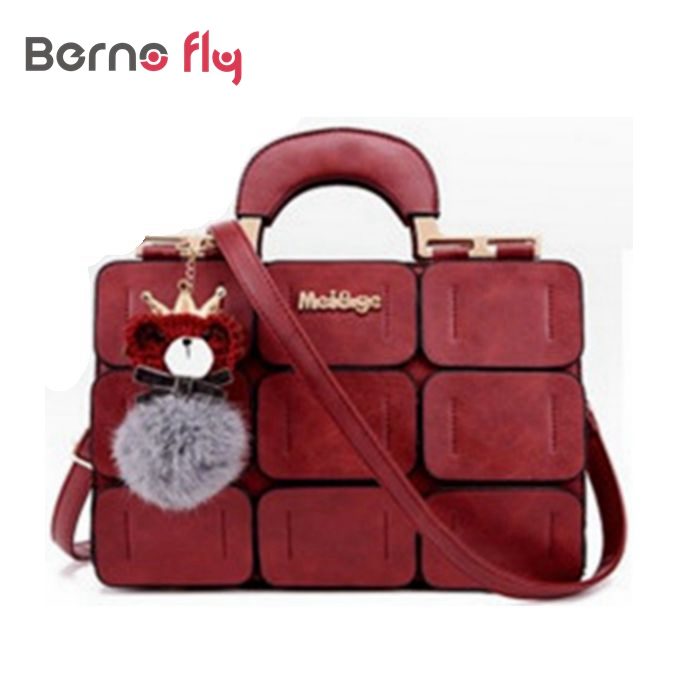 2016 fashion women bags spring summer ladies casual tote suture Boston bag inclined shoulder bag ladies leather handbags(China (Mainland))