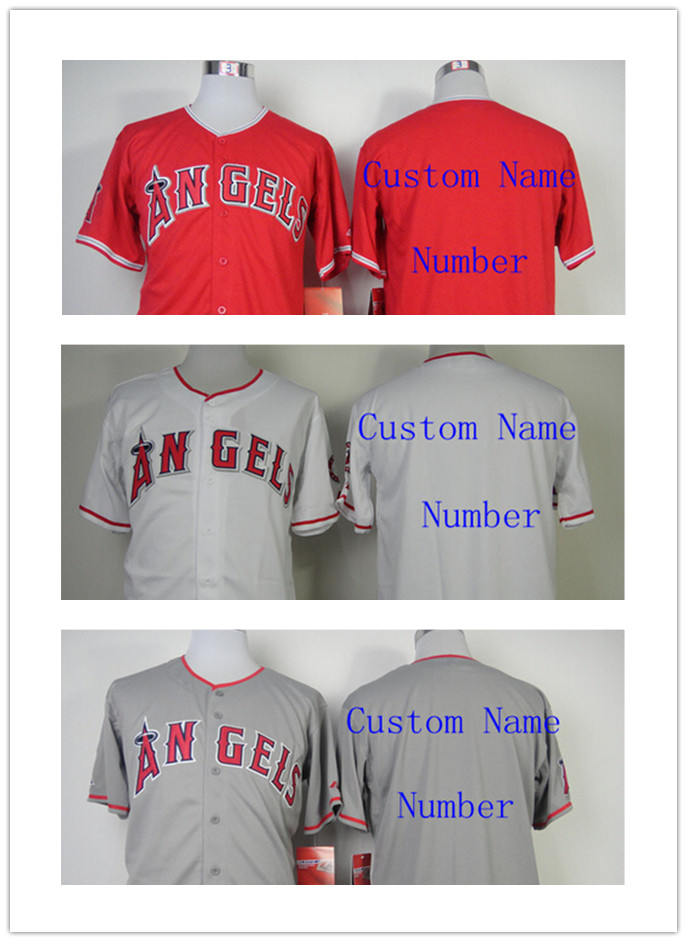 Custom Los Angeles Angels Jerseys Personalized Red White Grey Name and Number Men's Women Youth Cheap all stitched jerseys(China (Mainland))