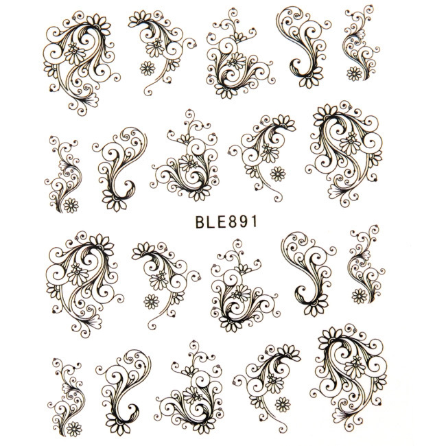 Charming Black Flower Print Moustache Nail Sticker Art Stickers Decorations Beauty Makeup Free Shipping<br><br>Aliexpress