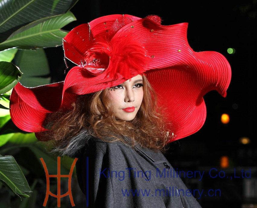 Free Shipping Elegant Formal Women Hats Big Brim Big Hat Wave Brim Red Exaggerated Women Fashion Show Couture Hat(China (Mainland))