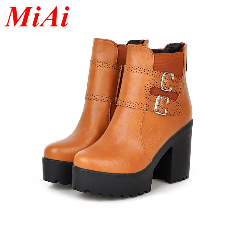 fashion ankle boots round toe zipper casual shoes women high heels big size 34-45 black red winter