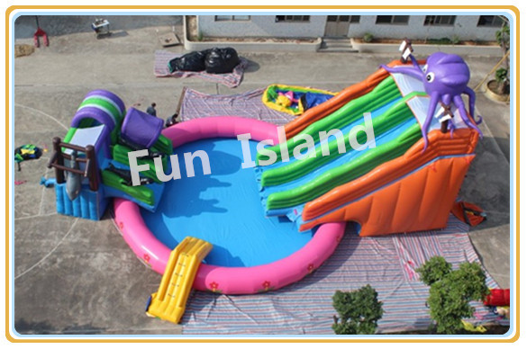 2014 giant inflatable water slide for adult/cheap inflatable water game with a pool for sale(China (Mainland))