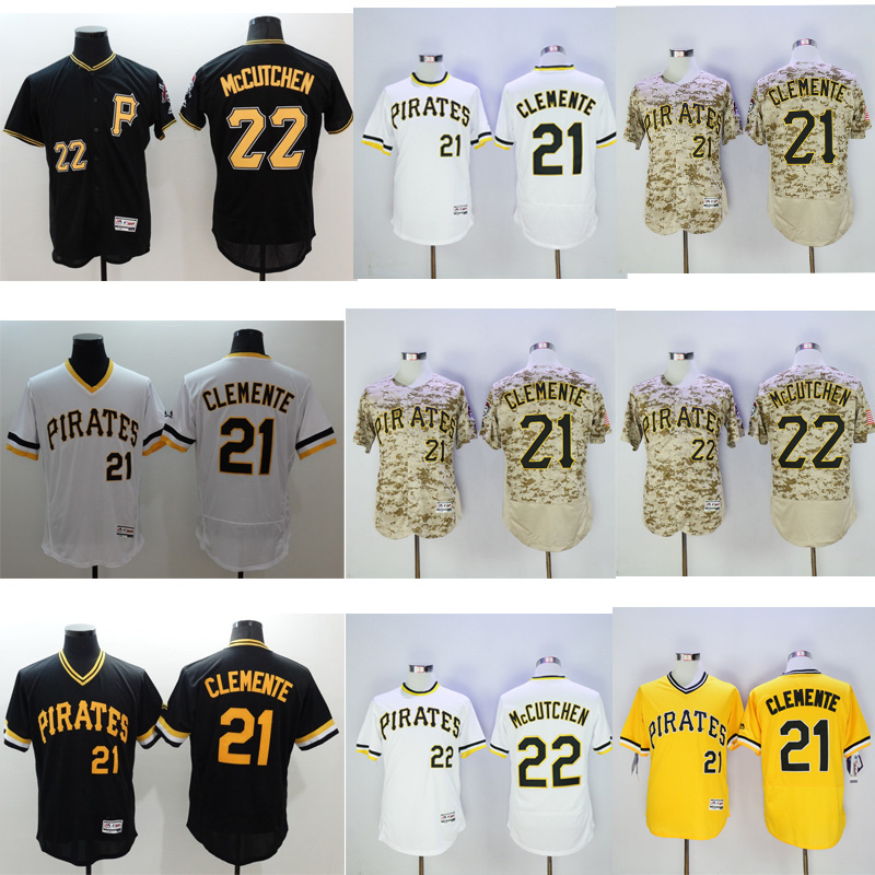 Mens Flexbase Version #21 Roberto Clemente #22 Andrew McCutchen Jersey Color Gray Yellow Green White Camo Throwback Jerseys(China (Mainland))
