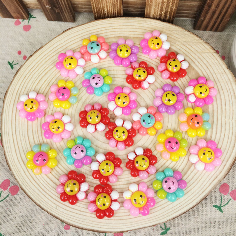 50 Piece Mixed Color Flatback Flat Back Resin Cabochon Kawaii Sunflower With Smille DIY Resin Craft Decoration Scrapbooking 19mm(China (Mainland))