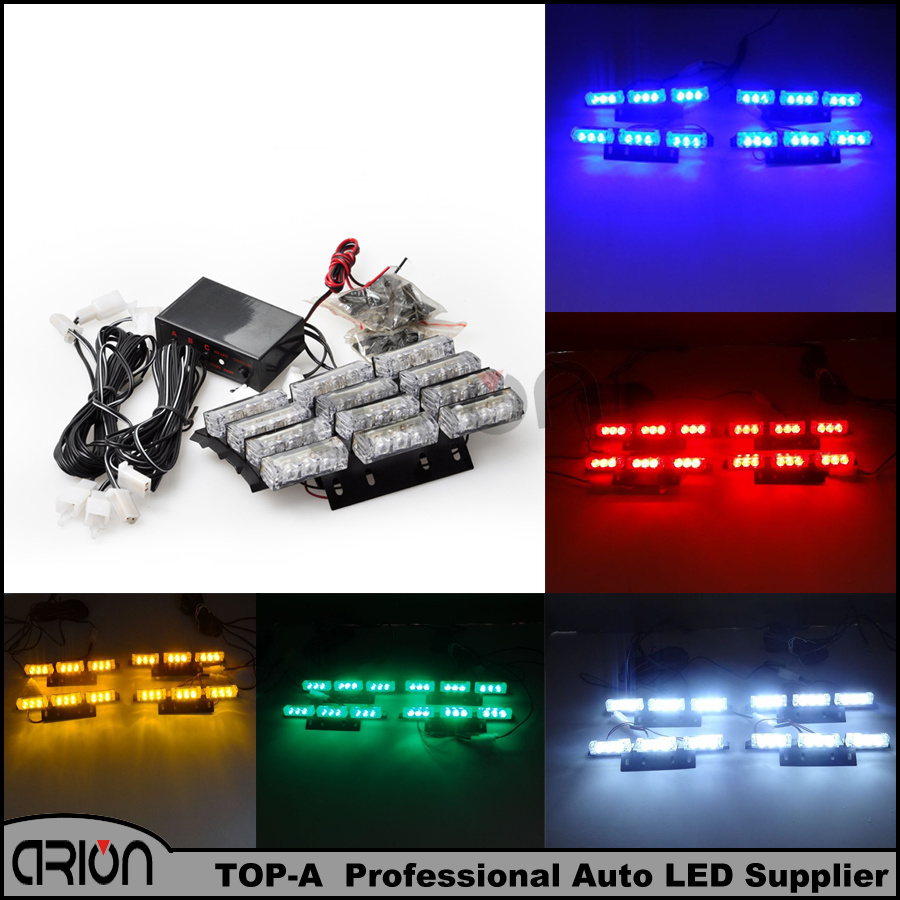 New 36 LED Blue Red White Amber Emergency Light Police Strobe Lamp Flashing Warning Windshield Boat Truck Car lightbar(China (Mainland))