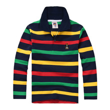 Di alta qualità per bambini bambini boy t shirt kid boys abbigliamento manica lunga cotone a righe T-shirt per bambini 2 4 6 8 10 12 14 anni(China (Mainland))
