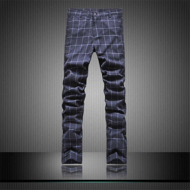Three-piece Fitted Men Suits With Pants Plaid Cotton Pants Slim Casual Suit Business Blazers For Man High Quality Pants