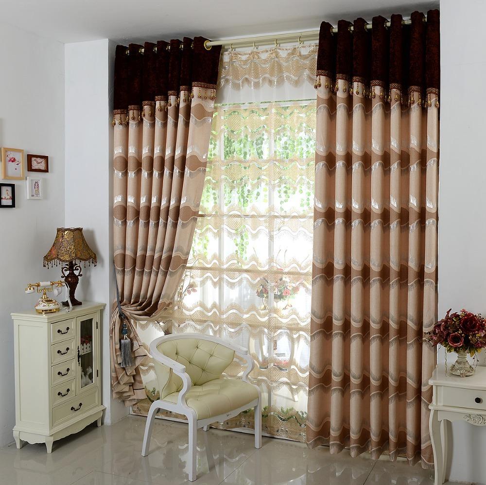 European High Grade Thick Brown Curtains Living Room Bedroom Windows Screens Curtain Head