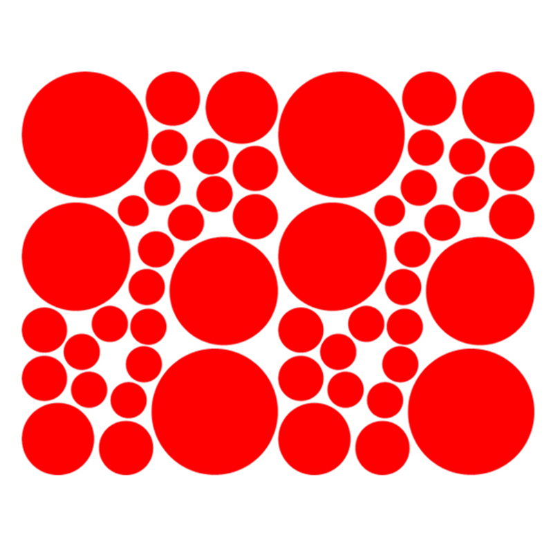 50 pcs/lot 52 Hot Polka Dots Art Wall Stickers For Living Room Lounge Kitchen Car Window Laptop Etc Vinyl Decal 9 Colors(China (Mainland))