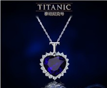Titanic Heart of the Ocean Sapphire Crystal Chain Necklace Pendant Plate Jewelry(China (Mainland))