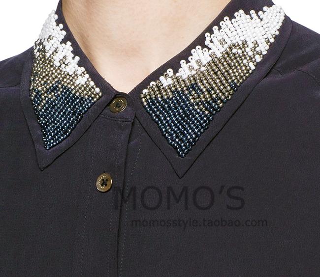 EQ new 100% silk women collar paillette beading long sleeve shirt equipment lady loose blouses spring summer(China (Mainland))