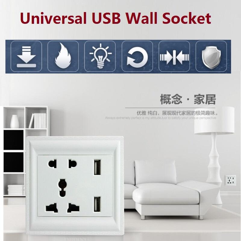 Universal Multi-purpose USB Wall Socket AC 85-265V US UK EU AU power socket 2 Port 5.0V USB Outlet Power Charger for smartphone<br><br>Aliexpress