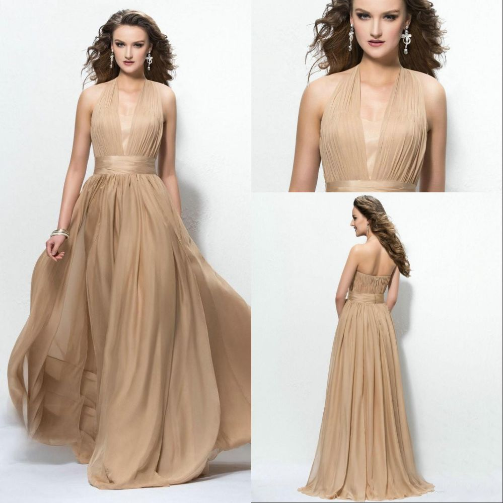 2015 champagne plus size long bridesmaids dresses cheap for Plus size champagne colored wedding dresses