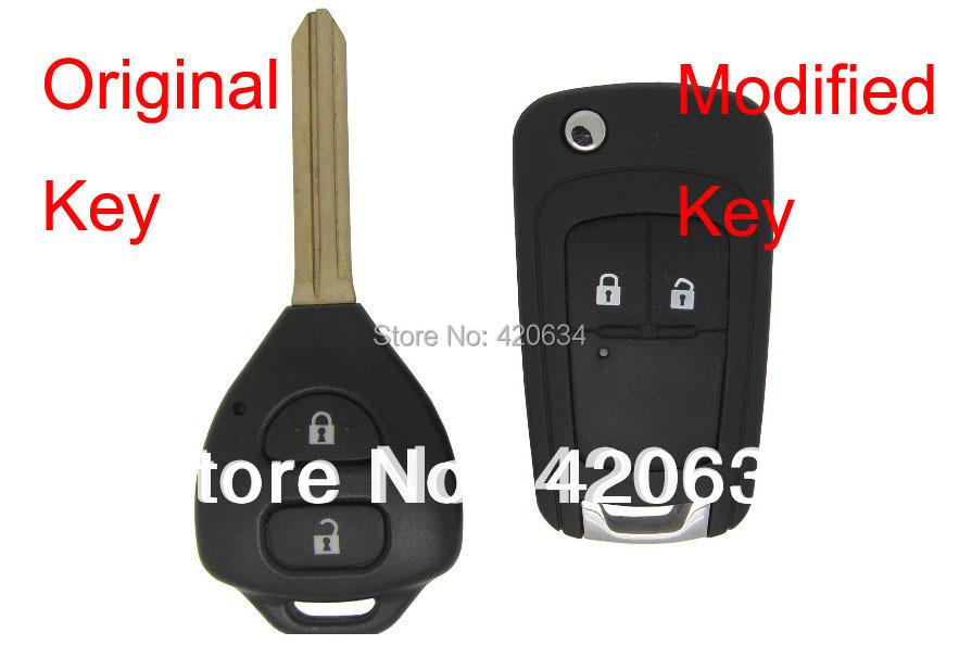 Гаджет  Hot sale Modified Blank Flip remote 2 Buttons Key Shell For Toyota Carola,Vios,RAV4 3D Carbon Fiber Sticker Free Shipping None Автомобили и Мотоциклы