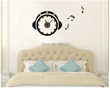 802 Free Acrylic Creative Big DIY 3D Digital wall Sticker Best home decor wall clock for your unique Headset shaped clocks(China (Mainland))