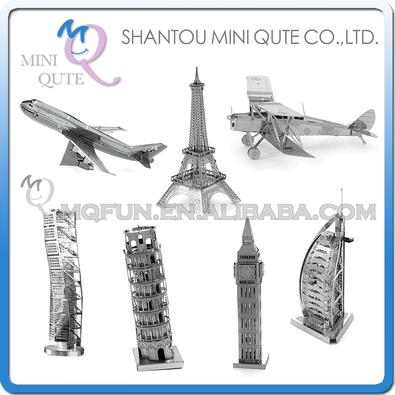 Piece Fun 3D Laser Cut DIY Assembly Models Eiffel Tower Big Ben Plane Metal Puzzle World Architecture Adult kids educational toy(China (Mainland))