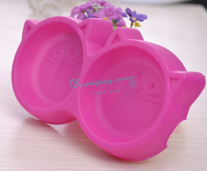 Cute Pet Dog Cat Food Bowl Cartoon Cat Shape Double Bowl Antiskid Tableware Utensils Pet Supplies Dog Feeders Free Shipping(China (Mainland))