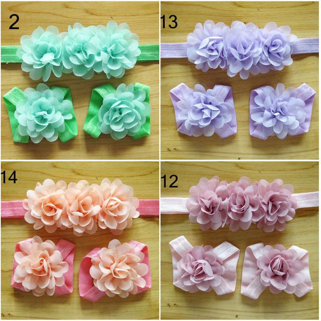 Детские ободки цветы младенцы сандалеты и повязка на голову комплект девочка волос ...