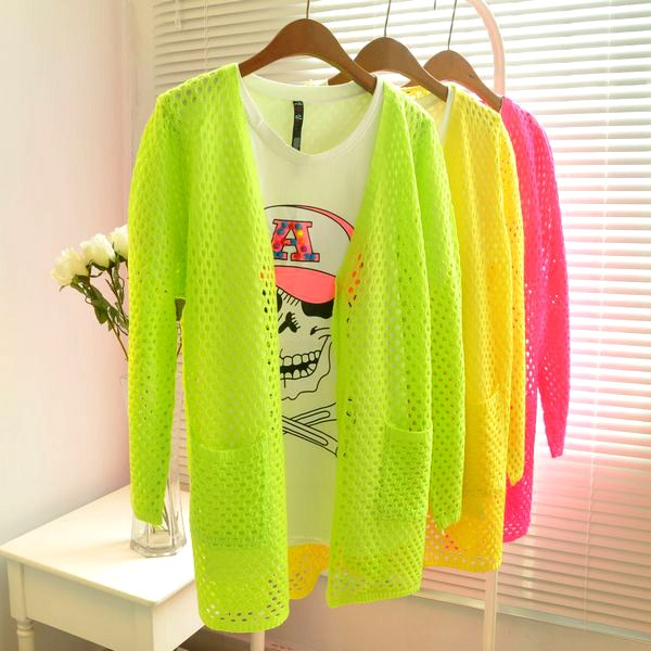 High quality drop shipping Fashion Womens Pretty Bright Candy Color Cardigan Thin Knitted Crochet Sweater New 2015 WS-007(China (Mainland))