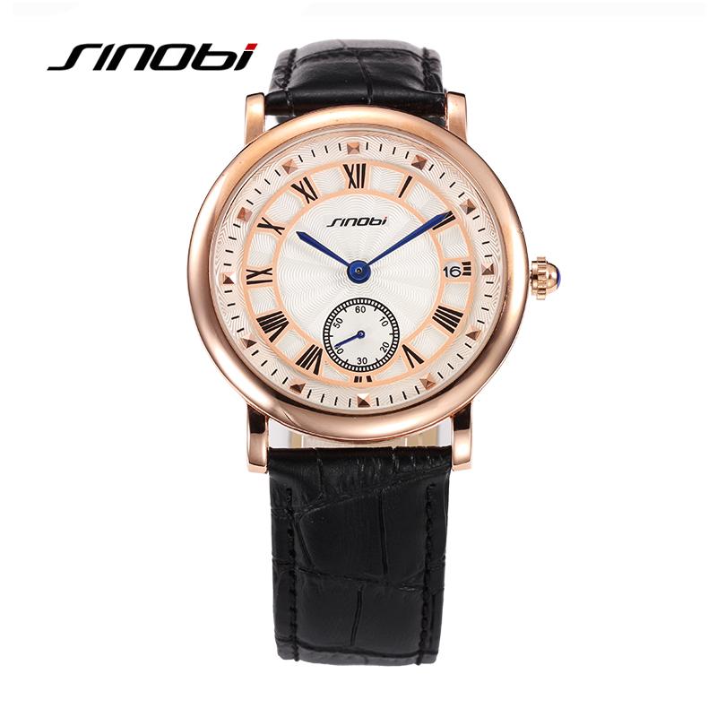 SINOBI Mens Leather Band Business Causal Watches Quartz Watches Wristwatches 8188G01<br><br>Aliexpress