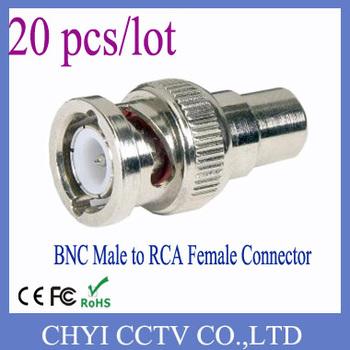 20pcs BNC male to RCA female connector for CCTV Video Camera dvr card surveillanceCATV system