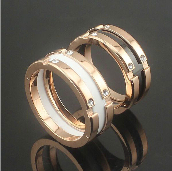 Fashion Crystal Black/White Ceramic Gear Rings/anel , Rose Gold Plated Stainless steel Women / Men Wedding Jewelry - Heine Store (store)