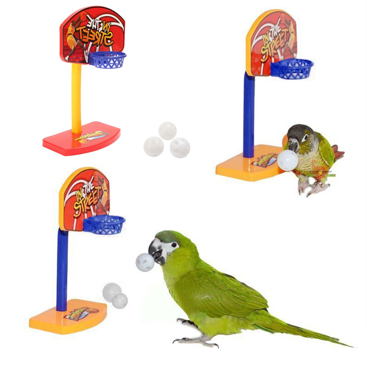 3Pcs Pet Birds Chew Toy Parakeet Bell Balls Parrot Toys Birdie Basketball Hoop Props Pet Parrot Toys Brinquedos Product Supplies(China (Mainland))