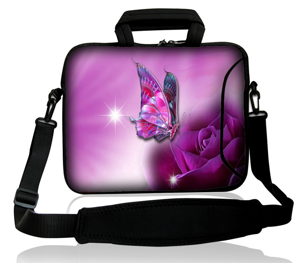 "10""purple butterfly Neoprene Laptop Carrying Bag Sleeve /Side Pocket +Shoulder Strap For 9.7"" -10.2"" Laptop Tablet PC(China (Mainland))"