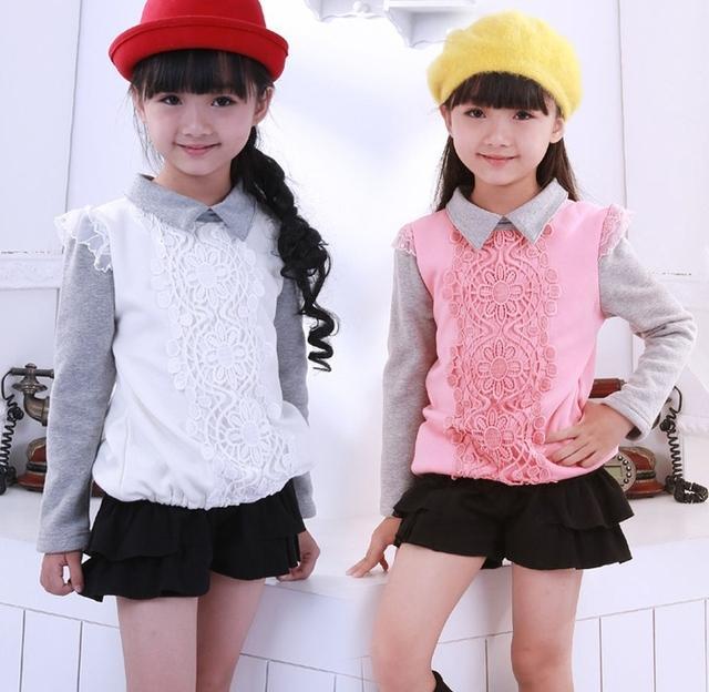 Весна - осень девочки-младенцы футболки длинный рукав хлопок дна рубашка / дети топы одежда