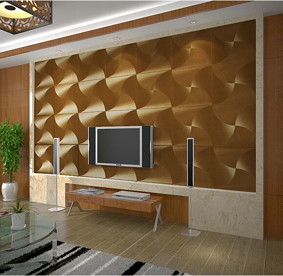 Buy modern luxury gold 3d wallpaper pvc for Gold wallpaper living room