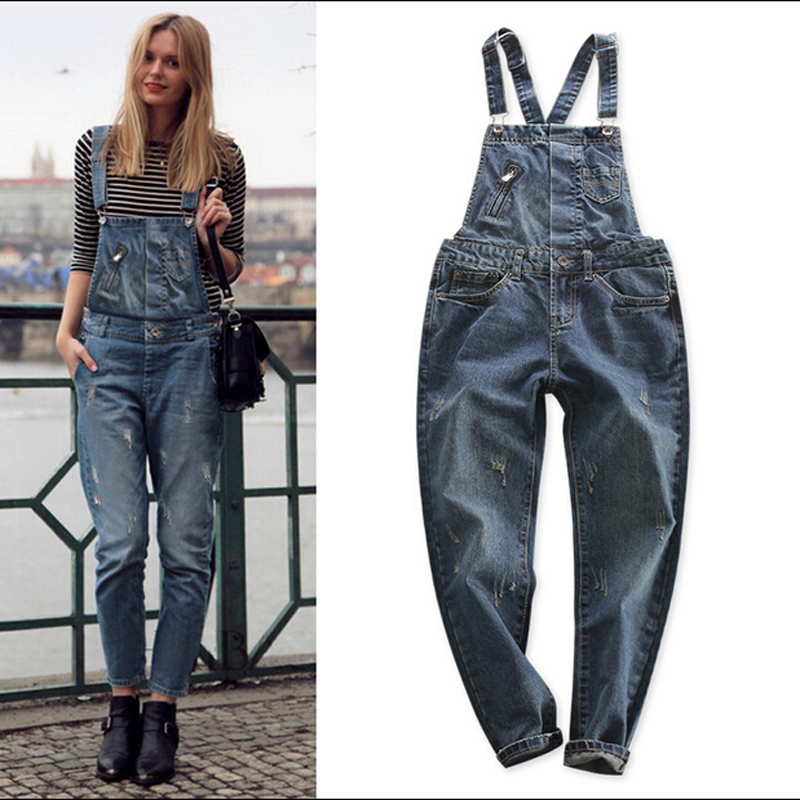 Fashion Spring 2016 Cats Claw BF Casual Denim Bib Pants Loose Womens Suspender Jeans Strar Same Style Denim Overalls Trousers Одежда и ак�е��уары<br><br><br>Aliexpress