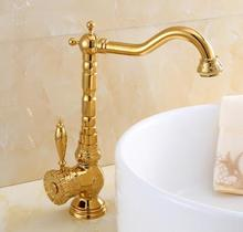 Buy New arrival Gold Carved Kitchen faucet Europe style total brass kitchen sink faucet hot cold sink tap Water Tap Basin Faucet for $84.00 in AliExpress store
