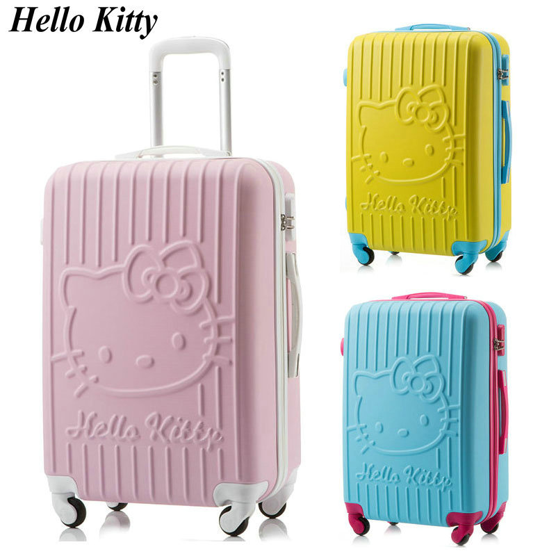 "New Girls Hello Kitty Luggage Travel Suitcase Universal Wheels Trolley Luggage Female Fashion Travel Bag 20"" 24"" Rolling Luggage(China (Mainland))"