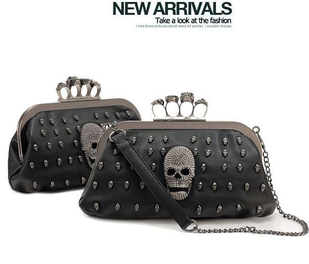 Vintage Skull purse Black Knuckle Ring Handbag Ladie Skull Clutch Evening Bag crossbody women shoulder bag borsetta donne 277t(China (Mainland))