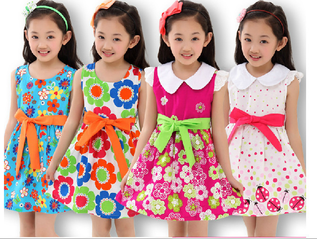 2016 summer kids clothes floral bow 100% cotton child princess tank party girl dress sundress flowers baby - Sky Trade Co., Ltd. store