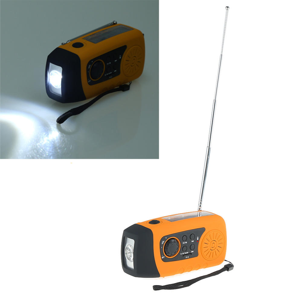 Emergency Solar Hand Crank FM Radio, MP3 Player, Flashlight, Smart Cell Phone Charger w/ USB Cable Yellow.