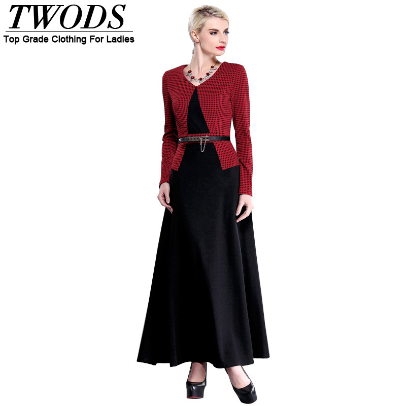 Twods New Arrival Autumn Long Sleeve Maxi Dress Red Plaid And Black Patchwork V-neck Slim Flare Dresses Vestidos