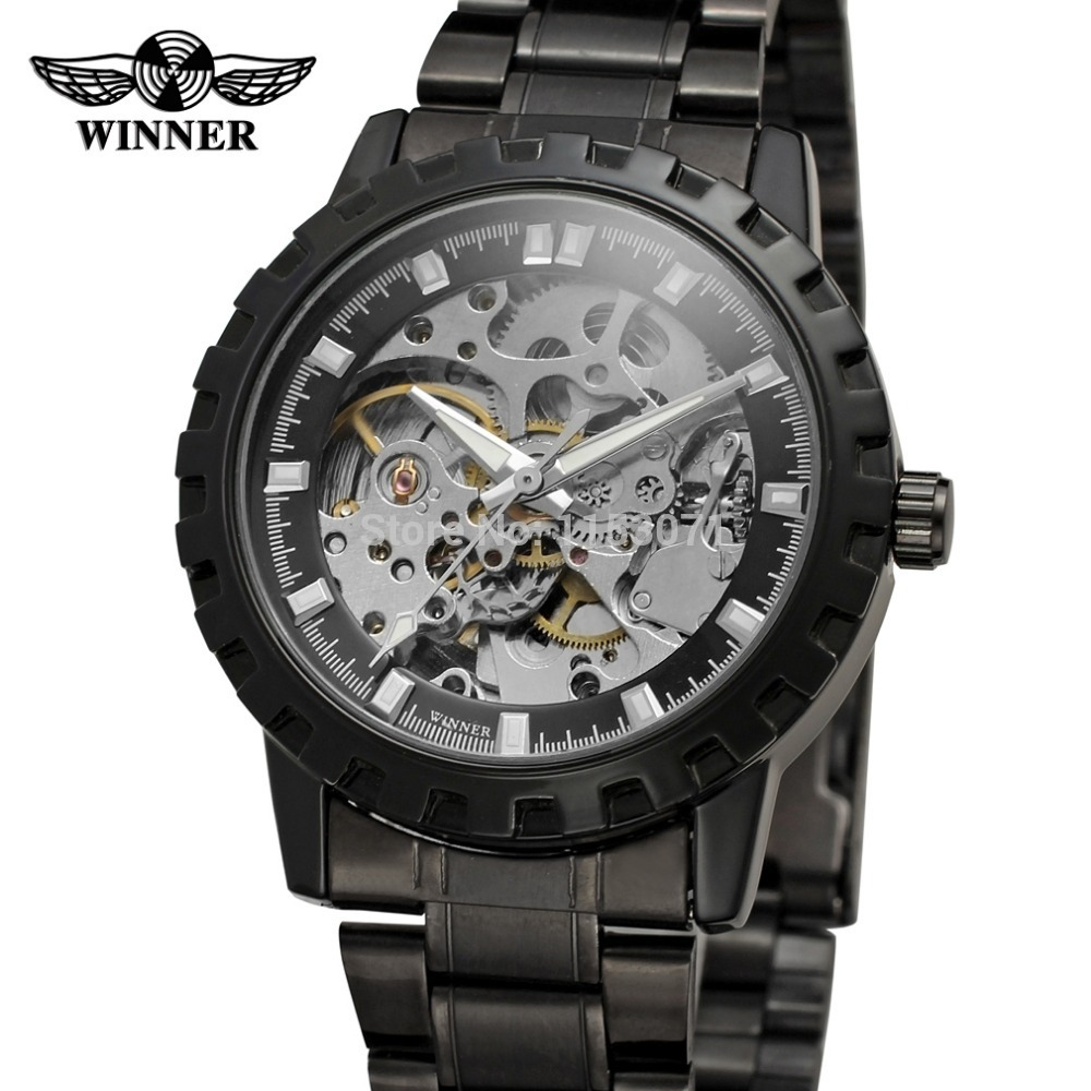 WRG8079M4B1 Winner Automatic skeleton men with gift box watch stainless steel bracelet factory company free shipping(China (Mainland))