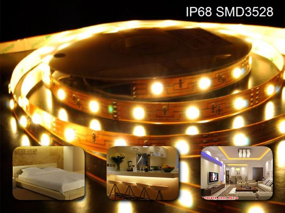 5M Roll 3528 SMD Waterproof 120 LEDs/M 600 LEDs Warm Cool White Red Green Blue Yellow RGB Flexible LED Strip Light(China (Mainland))