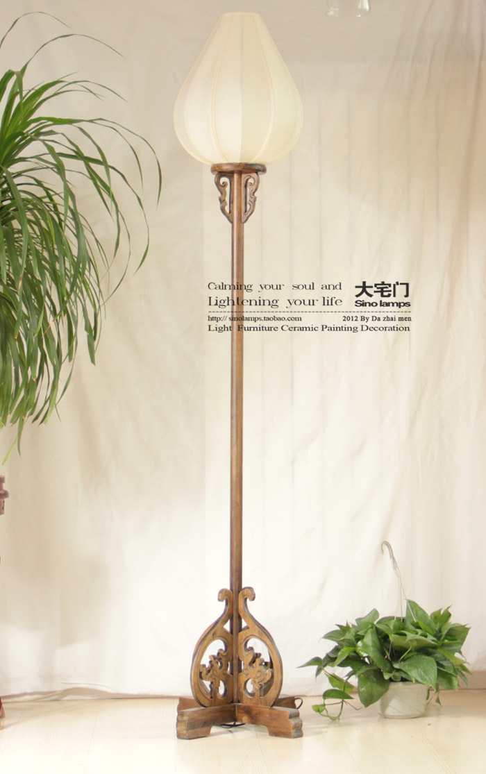 Chinese style classical floor lamp seclusion1 floor lamp for Oriental wood floor lamp