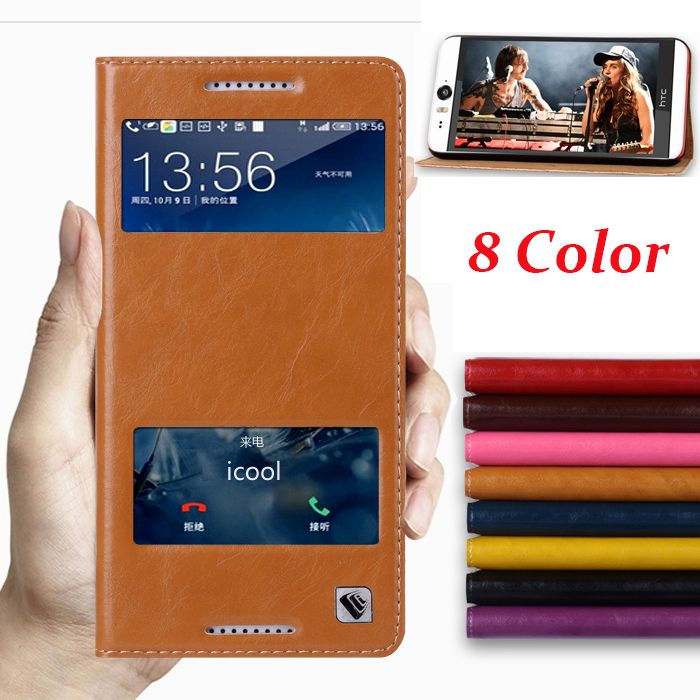 8 Color,Natural Top Genuine Leather Smart Window Flip Stand Cover Case For HTC Desire 820 Luxury Mobile Phone Bags(China (Mainland))