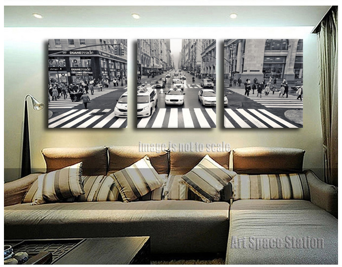3 pieces new york city street view canvas print wall art for New york home decorations