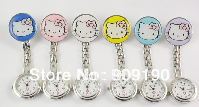 DHL Free shipping-100pcs/lot-hot sale hello novelty kitty nurse watches, stainless stail pocket medical  watch,pin nurse watch