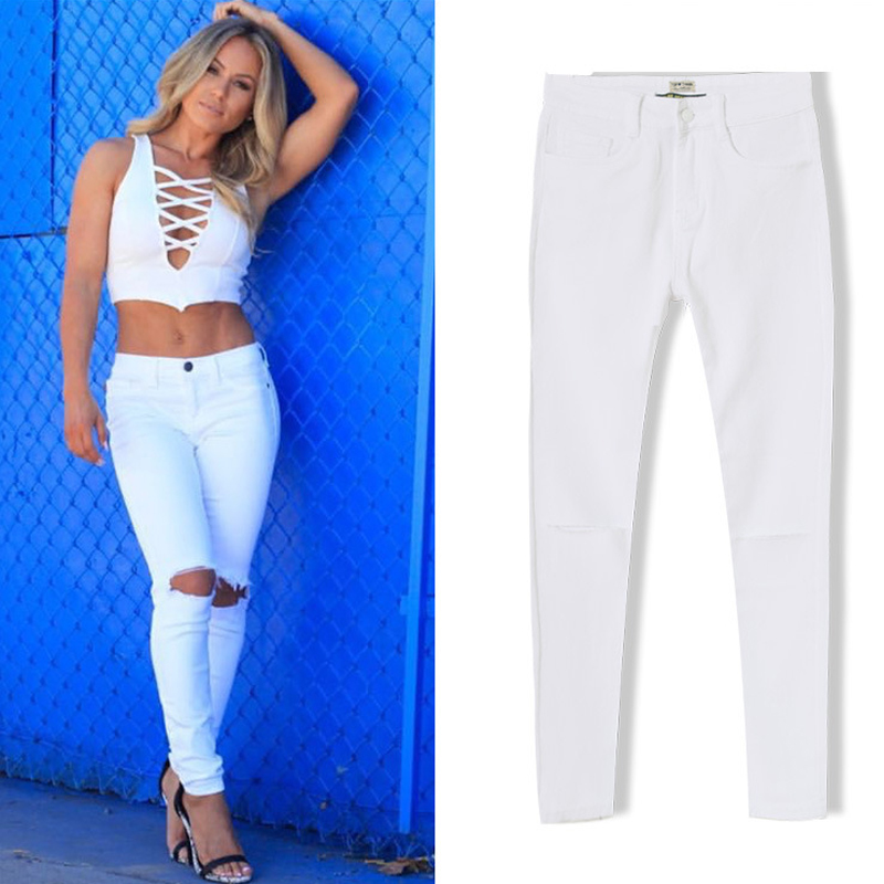 Popular Knee Ripped White Jeans-Buy Cheap Knee Ripped White Jeans