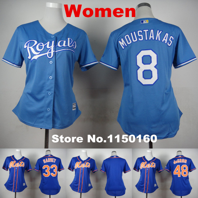 Lady New York Mets Jersey Blank Blue 33 Matt Harvey Women 48 Jacob DeGrom Jersey Kansas City Royals Girl 8 Mike Moustakas Jersey(China (Mainland))