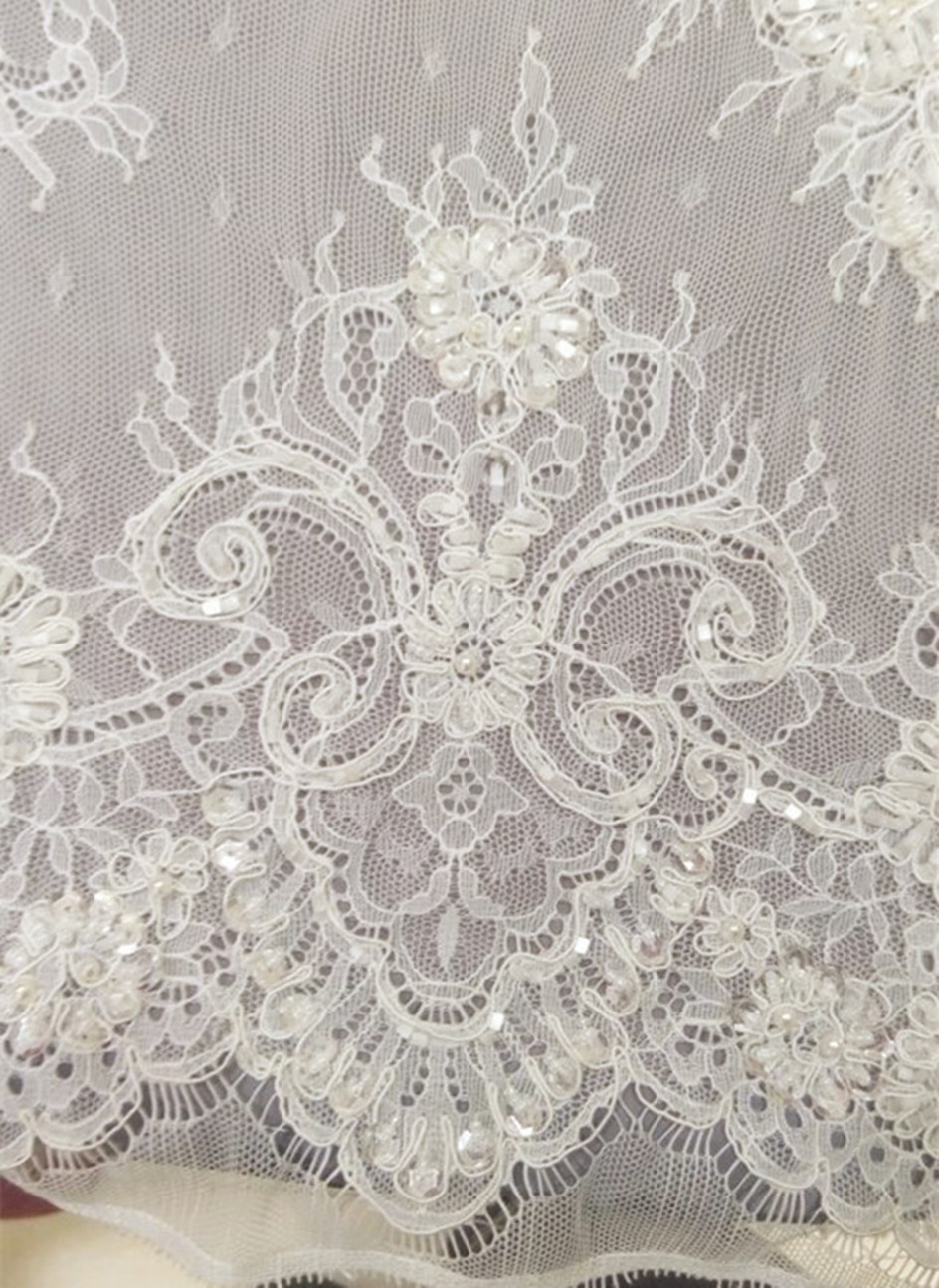 Sequins heavy wedding beaded lace fabric for formal dress fabric