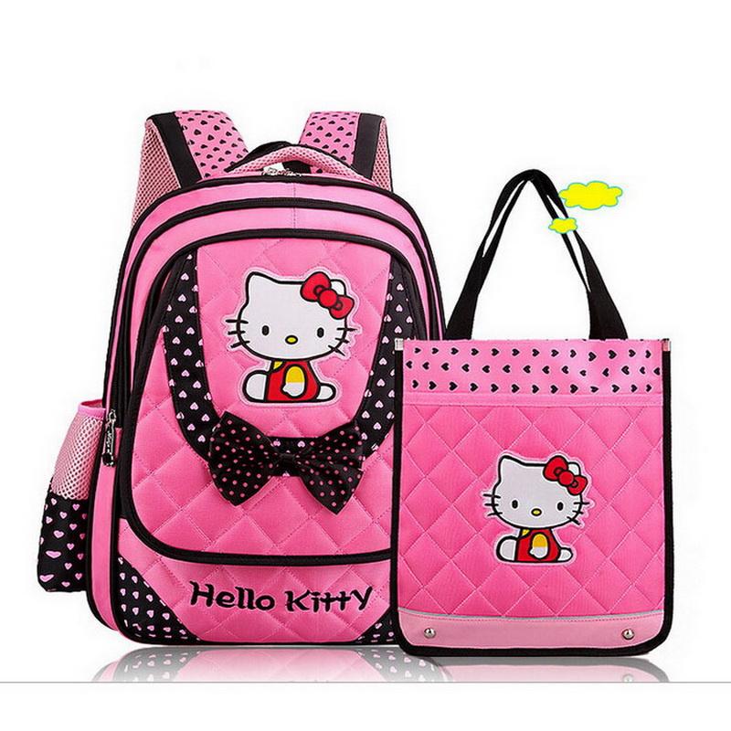 Cute Rose Hello Kitty School Backpacks for Kids Cartoon Cats Children School Rucksacks Bags for Girls Infantil Bolsas XB143(China (Mainland))